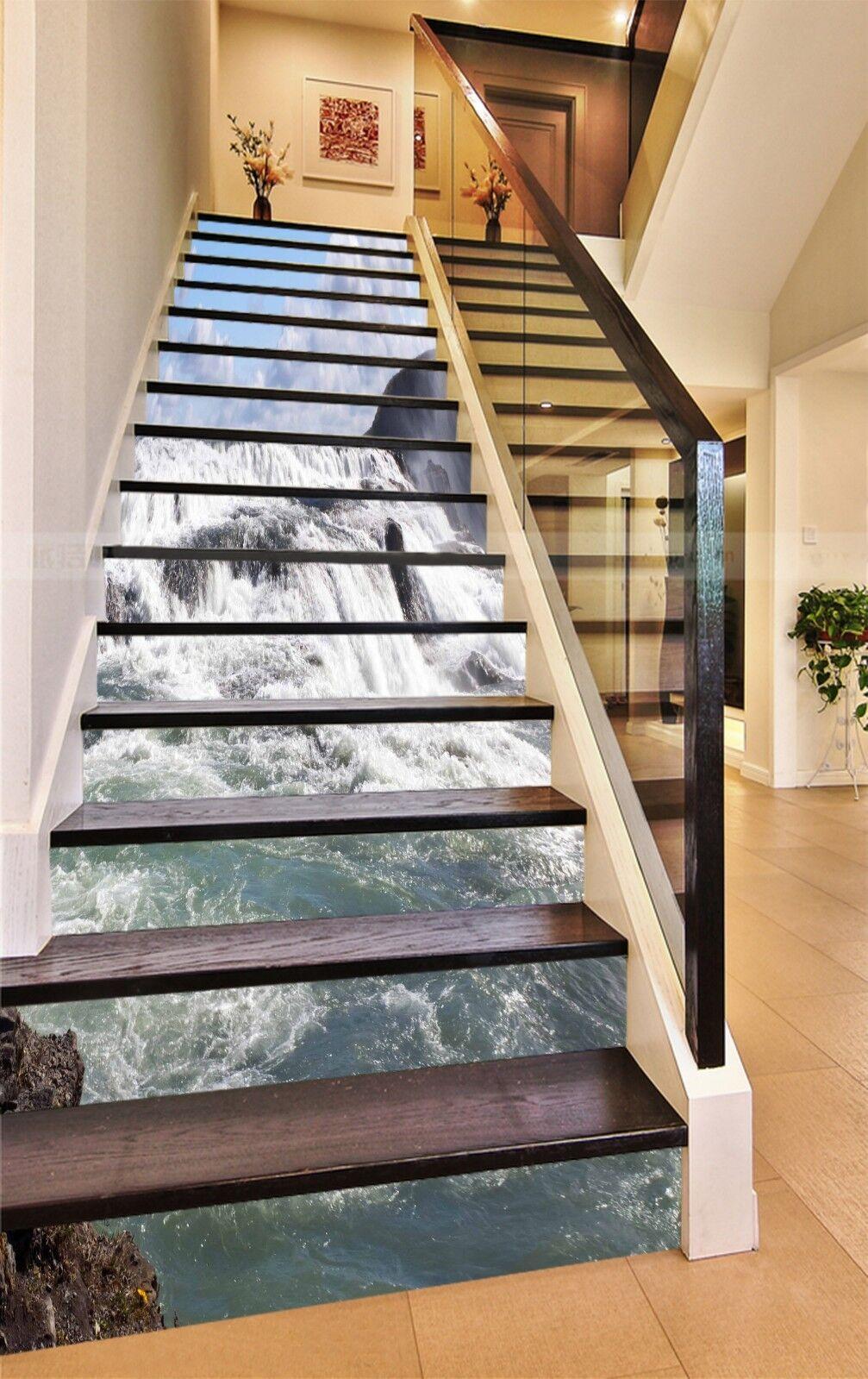 3D Großer Fluss 395 Stair Risers Dekoration Fototapete Vinyl Aufkleber Tapete DE