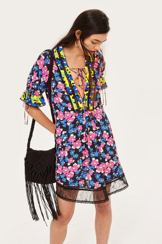 NWT  Topshop Floral Print Mini Shift Dress, US Sizes  2, 4, 8  Retro Boho Hippy