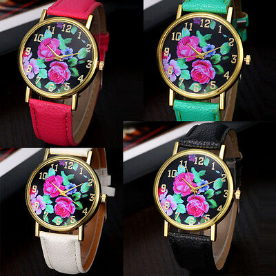 HOT Vogue Women's Leather Rose Floral Printed Analog Quartz Wrist Watch HOT