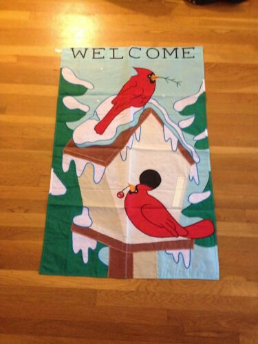 Annin Flag Banner Christmas Holiday Welcome Cardinal Free ship 3 by 5-Feet