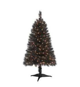 Details About Black 4 Ft Pre Lit Indiana Spruce Christmas Tree W Clear Lights New