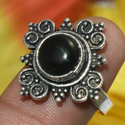 Black Onyx Gemstone 925 Silver Overlay Ring 7 Adjustable Jewelry Silver Plated Ring Gemstone Ring Handmade Ring Free Shipping