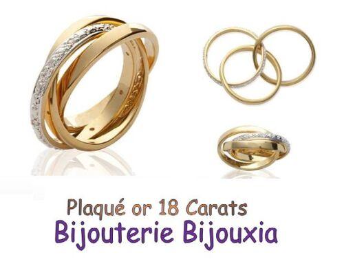 Bague 3 anneaux ZIRCONIUM Plaqué or 18 Carats 5 Microns Bijoux NEUF CHOIX