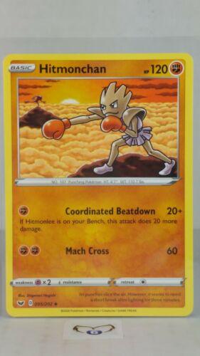 Base  Uncommon  Mint//NM Pokemon Hitmonchan  95//202 Sword /& Shield