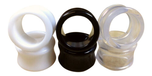 up to 30mm! Black,White,Clear Ear Tunnels Plugs Gauges Earlets 3 PAIR SET