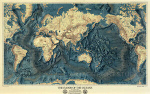 Image Is Loading Floor Of The Oceans Vintage Old World Map