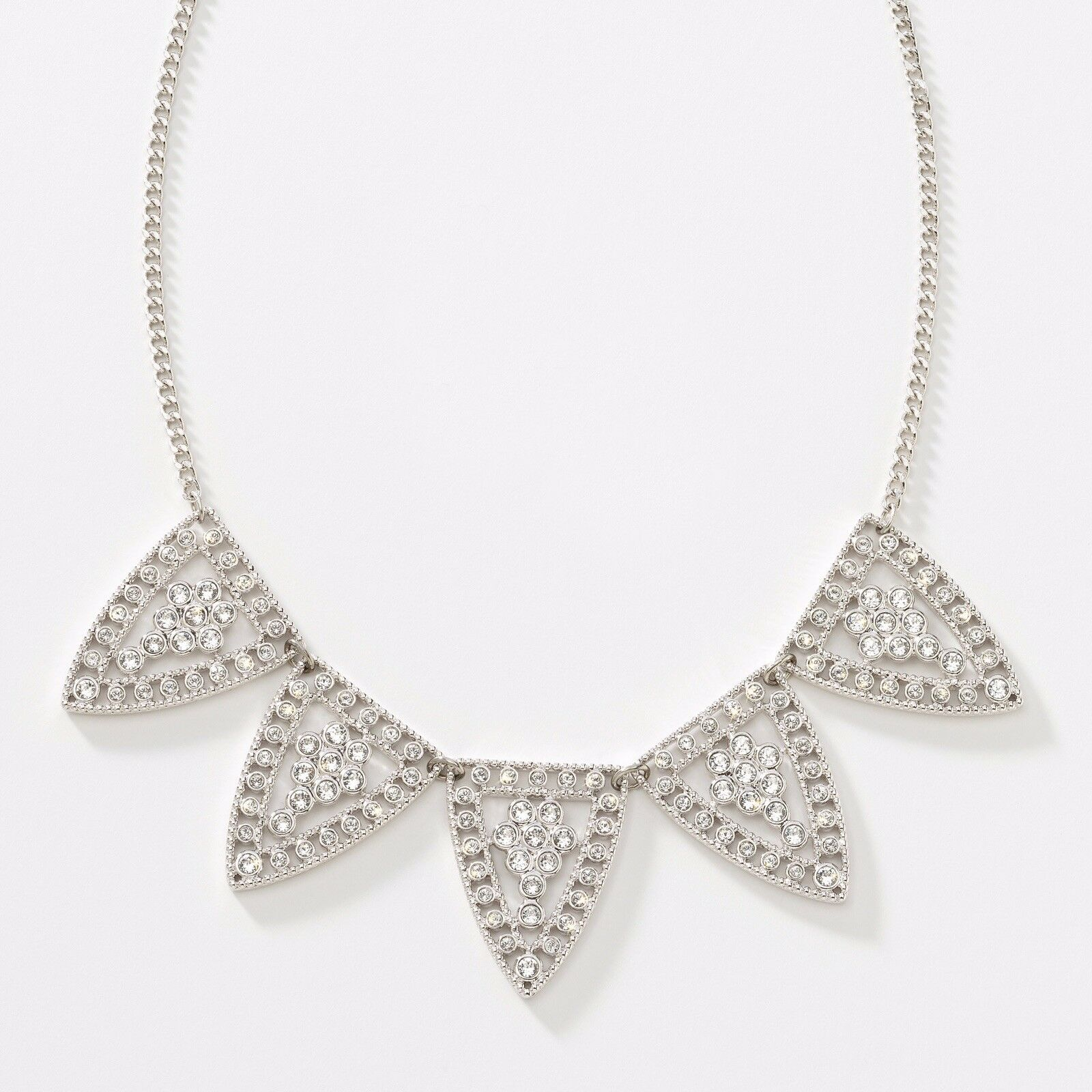 NEW Touchstone Crystal by Swarovski White Crystal Shield Neclace Bridal Jewelry