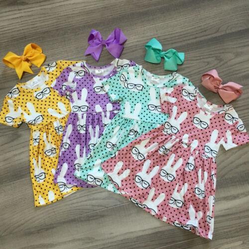 Summer Toddler Baby Kids Girl Dress Easter Rabbit Bunny Tutu Dress Party Clothes