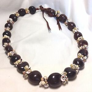24-28-inch Kukui Seed & Green Everlasting Shell Lei with Brown Silk Ribbon