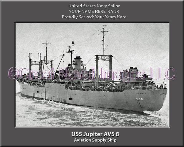 USS Jupiter AVS 8 Personalized Canvas Ship Photo Print Navy Veteran Gift