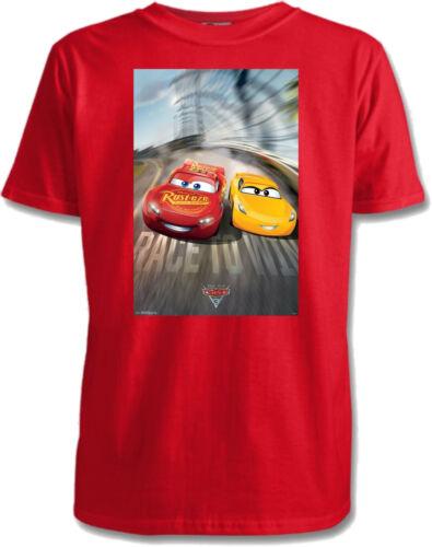Sizes 1-15 3 Designs Disney Cars 3 Childrens T-Shirts 7 Colours