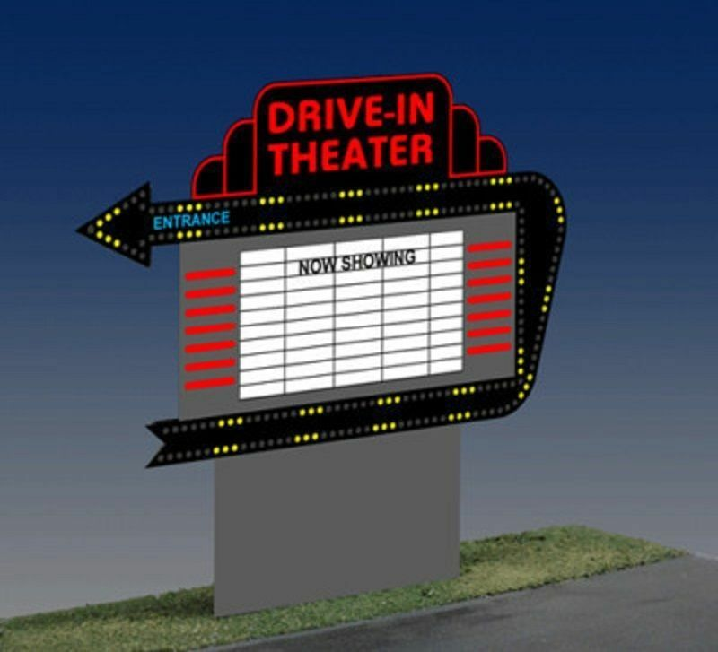 DRIVE-IN THEATER ANIMATED NEON SIGN FOR O SCALE-LIGHTS, BLINKS,MORE  TOP BUY