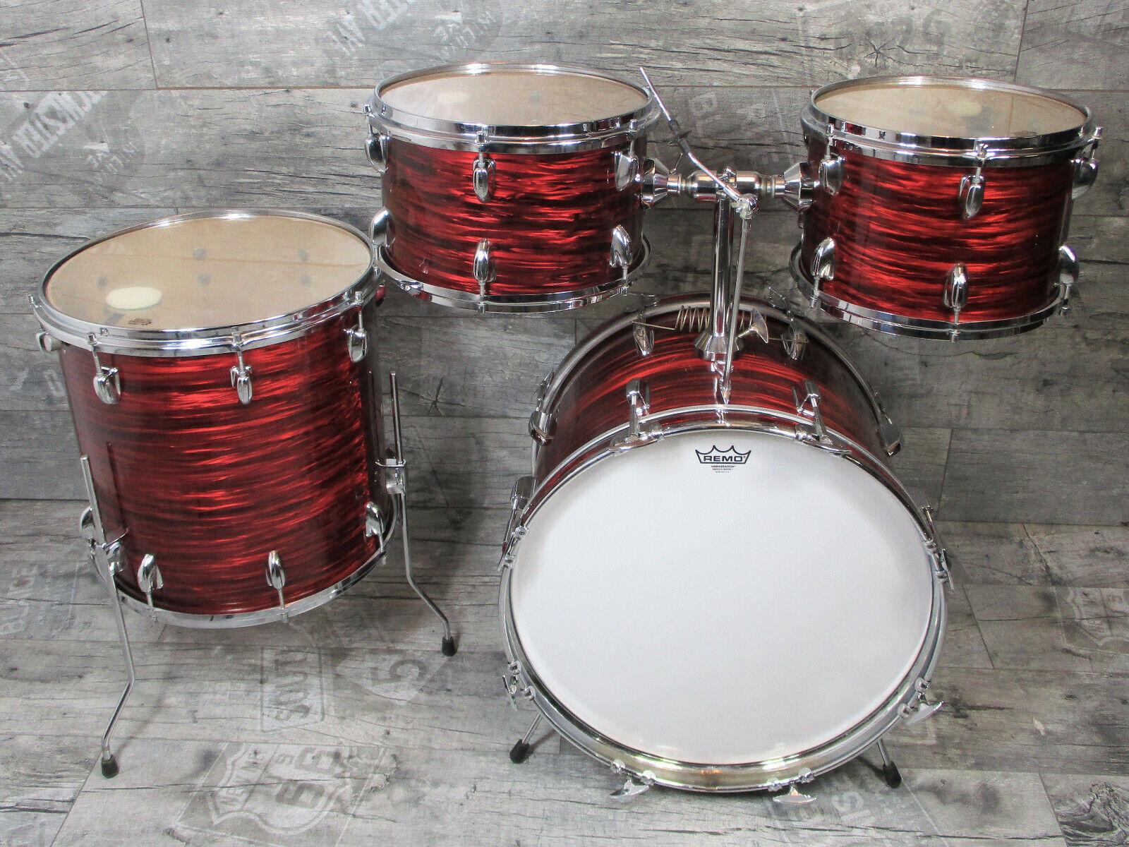Rimmel 60s   70s Vintage Drumset Shellset 20,12,13,16 rot Oyster Schlagzeug