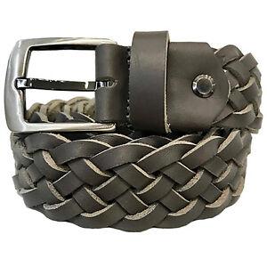 Cinturón Piel Trenzada Cuero Trenzado Lavada Paul.hide Italia Ancho 3,5 cm Gris