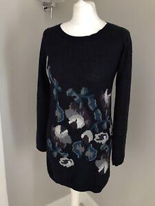 Fatface-Ladies-Jumper-Size-10-Wool-Blend-Soft-Navy-Blue-Floral-Print-Winter-Warm