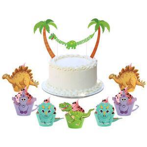 Ourwarm-12Pcs-CARICATURE-Dinosaur-Cupcake-Wrapper-Animal-Gateau-Toppers-gateau-Decor