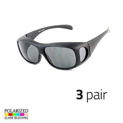 3 PC POLARIZED Rhinestone cover put over Sunglasses wear Rx glass driving Blac e