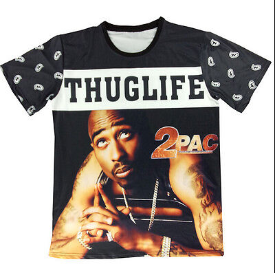 2015 New Summer Fashion Mens/Womens 2PAC Tupac Rap Hip Hop 3D print T-shirt TT01