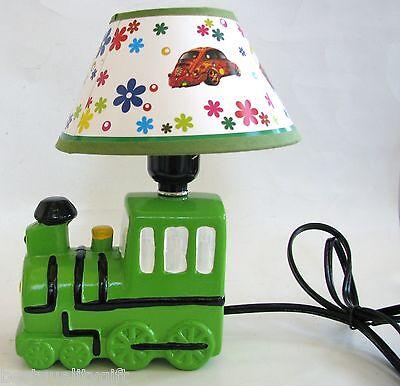 New Green Black White Yellow Train, Train Table Lamp