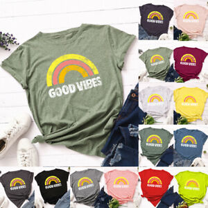 Womens-Summer-Ladies-Loose-Blouse-Rainbow-Casual-Basic-Pullover-T-Shirt-Tee-Tops