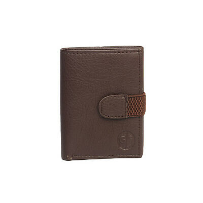 Faux Leather Tri Fold Money Wallet Purse for Men Gents with Card Slots - Brown