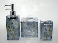 Valerie Bertinelli Vintage Momento 3 Pc Blue Glass Set Soap Dispenser+2 Others