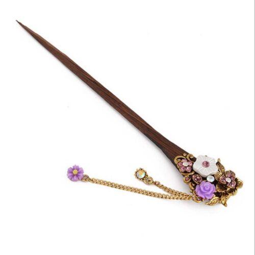 1 Stück Vintage Holzstab Stick Pin handgemachte Kristall Strass Blume Haarnadel