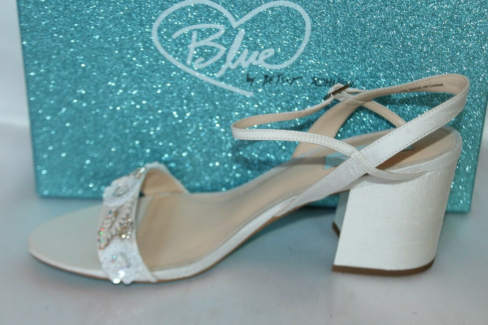NEW Blau by BETSEY JOHNSON Ivory Sequin Sequin Sequin BRETT Open Toe Formal Heels Sz 11  129 bbe25d