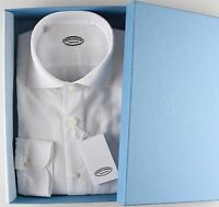 NWT 380$ VINCENZO DI RUGGIERO SHIRT white Winter Oxford full handm Italy 38 15