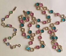 Vintage Necklace Swarovski Swan Marked Bezel Pastel Crystals & Bracelet