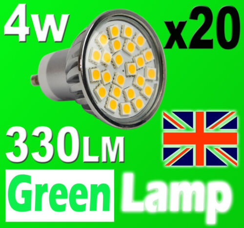 20 x GU10 24 SMD 5050 LED Bulb = 60W HALOGEN with cover glass 3000K Warm White