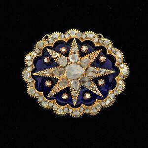 Image Is Loading Antique Victorian Starburst Motif 14K Gold Rose Cut