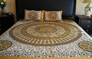 Cotton-Block-Print-White-Yellow-Color-Bed-Sheet-with-two-pillow-covers-India