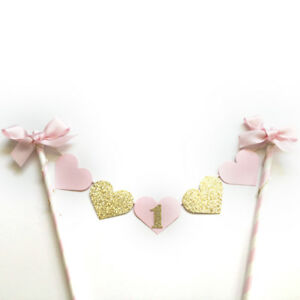 Glitter-Gold-Girl-Birthday-Party-Cake-Decor-Pink-Heart-Topper-with-Bowknot-Pip
