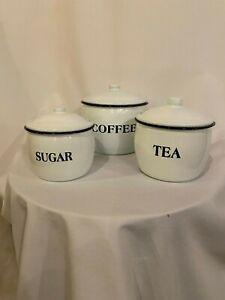 Splatter-Ware-NEW-EnamelWare-Large-fancy-COFFEE-TEA-SUGAR-canister-set