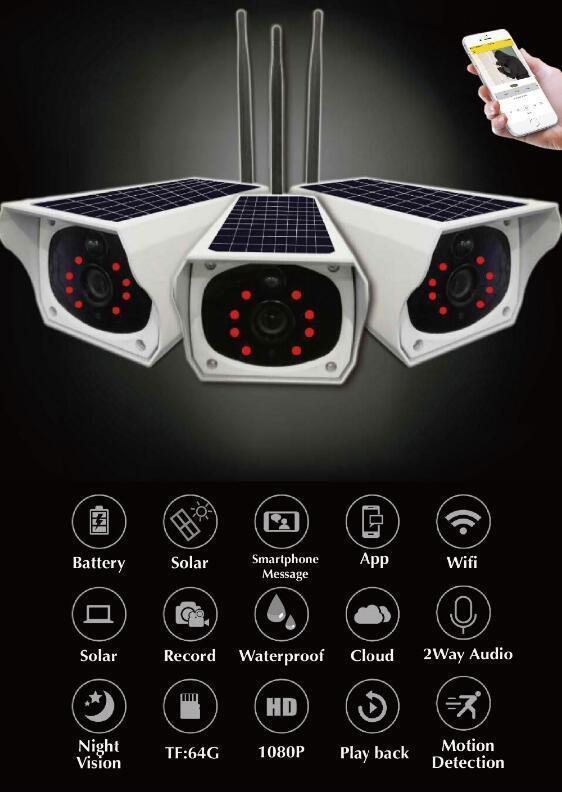 Energía Solar Inalámbrico Wi-Fi HD Visión Nocturna Cámara Seguridad