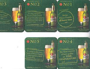 Pilsner Urquell Beer Set of 5 Trivia Challenge Coasters With Display Holder