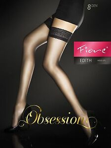 Fiore-Edith-8-Denier-Stockings-Thigh-High-Hold-Up-Nylons-Lace-Top-FREE-SHIP