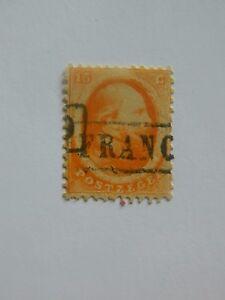 79-PAYS-BAS-Royaume-1864-Guillaume-III-n-15c-orange-oblitere-France-en-noir