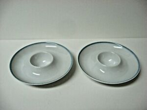 Lot-2-very-fine-china-round-eggcups-egg-cup-dish-blue-rim-Arzberg-Germany