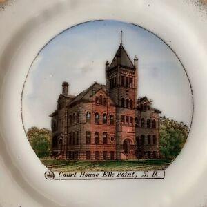 HISTORIC Vintage COURT HOUSE Souvenir China Plate ELK POINT South Dakota