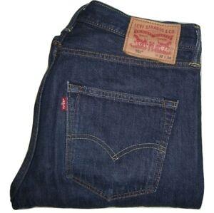 Homme-Levi-039-s-Strauss-amp-Co-501-Bleu-Fonce-0101-Denim-Jeans-W32-L34-coupe-droite