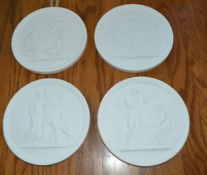 4-Vintage-Royal-Copenhagen-Bisque-Porcelain-Plaques-4-Seasons