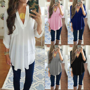 Women-Chiffon-Blouse-Tee-Shirt-Long-Sleeve-T-shirts-Casual-V-Neck-Tops-Plus-Size