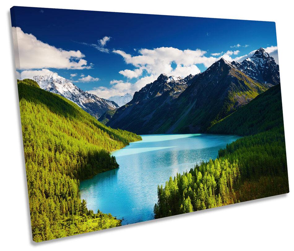 Mountain Landscape Sunset SINGLE CANVAS WALL ART Print Picture