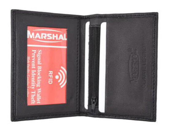 00778b2b195c Black RFID Blocking Men's Genuine Leather Bifold Wallet Slim Card Holder