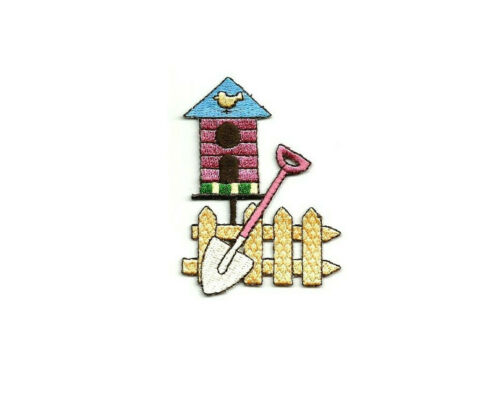 Embroidered Iron On Applique Patch Spring Gardening Crafts Birdhouse