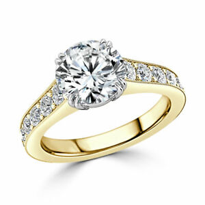2.25 Ct Round Solitaire Moissanite Anniversary Ring 14K Solid Yellow Gold Size 9