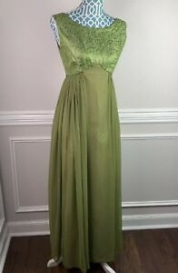 d19943b3953b Image is loading Vintage-Womens-Dress-Gown-Green-Brocade-Empire-Waist-