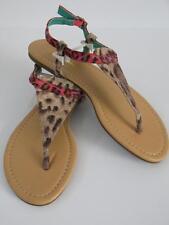 New Cheetah Print Thong Flat Sandals Shoes Summer Beach Pool Pink Brown Womens 6
